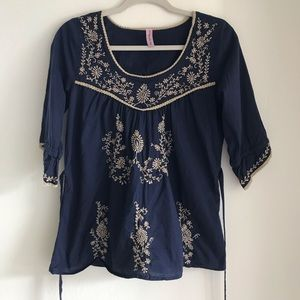 Impeccable Pig large navy embroidered tunic
